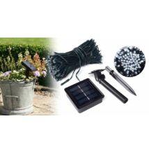 Napelemes kerti fényfüzér 100 LED-del, 20 m - különböző színekben - hidegfehér