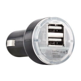 Autós töltő konverter, USB, (Samsung, HTC, Nokia, LG, ZTE, Motorola) fekete, 2.1A / 1A