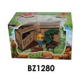 Lovarda, összecsukható, 2 ló + 2 box + karám + figura + kiegészítők, 31x29 cm dobozban