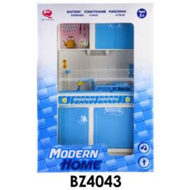 Konyhafal babához, elemes(2xAA), hangot ad és világít, mosogatóval(vizet lehet bele rakni), kiegészítőkkel, kék, 33x32 cm dobozban