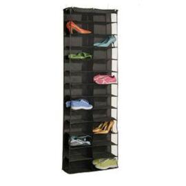 Ajtóra szerelhető cipőtároló, 160x55x16 cm, fekete