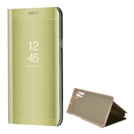 Samsung Galaxy Note 10 / 10 5G SM-N970 / N971, Oldalra nyíló tok, hívás mutatóval, Smart View Cover, arany (utángyártott)