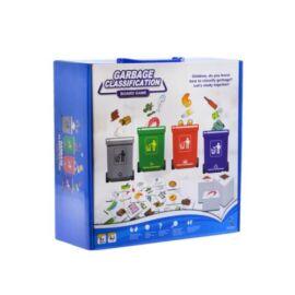 Kukás társasjáték, szelektív hulladékgyűjtős, a kihúzott kártyákon szereplő dolgokat a megfelelő kukába kell rakni, 27x27 cm dobozban