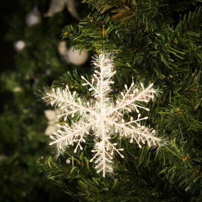 Hópehely karácsonyfadísz - csillogó - 15 cm