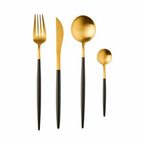 STILETTO evőeszköz szett arany/fekete matt