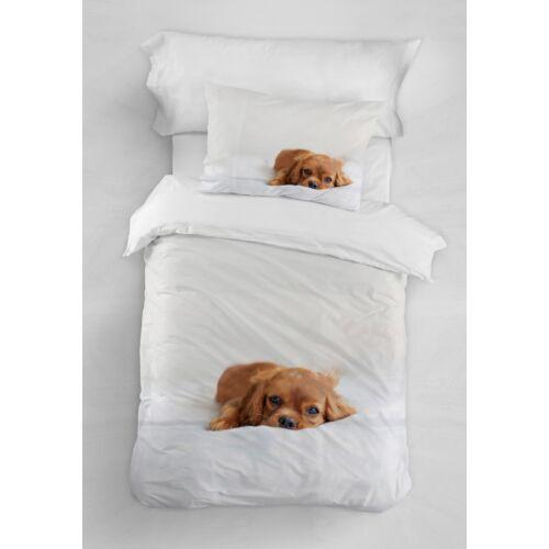 PUPPY Egyszemélyes  ágyneműhuzat fehér alapon barna kutyus mintával 140*200 cm + 50*70 cm párnahuzat