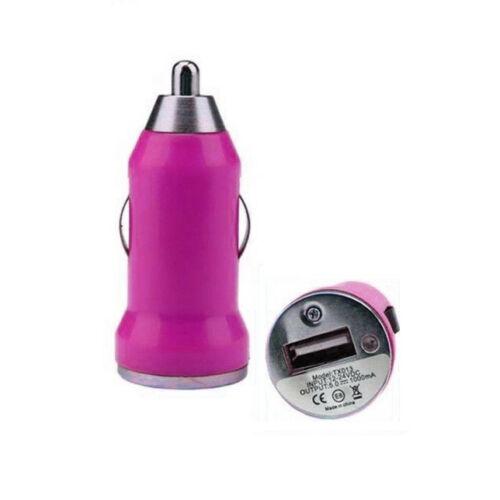 Autós töltő konverter, MINI kivitel (Samsung, HTC, Nokia, LG, ZTE, Motorola) 1A, rózsaszín