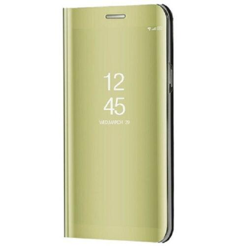 Apple iPhone 7 / 8 / SE (2020), Oldalra nyíló tok, hívás mutatóval, Smart View Cover, arany (utángyártott)