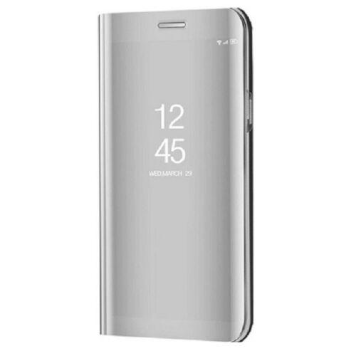 Huawei P20 Lite (2019), Oldalra nyíló tok, hívás mutatóval, Smart View Cover, ezüst (utángyártott)