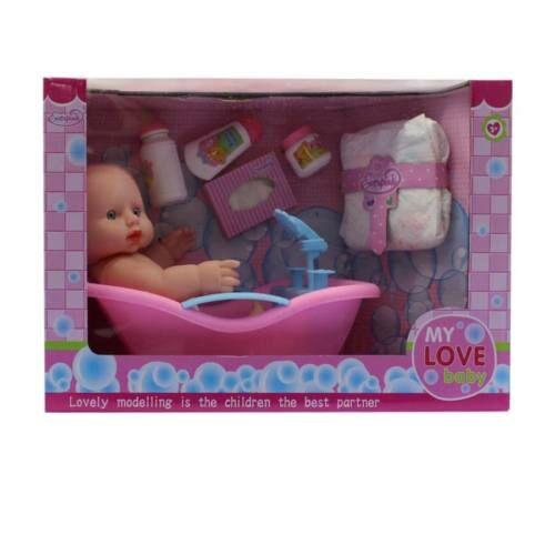 Csecsemő baba, kopasz, kádban, 30 cm, pelenkával és tisztálkodási kiegészítőkkel