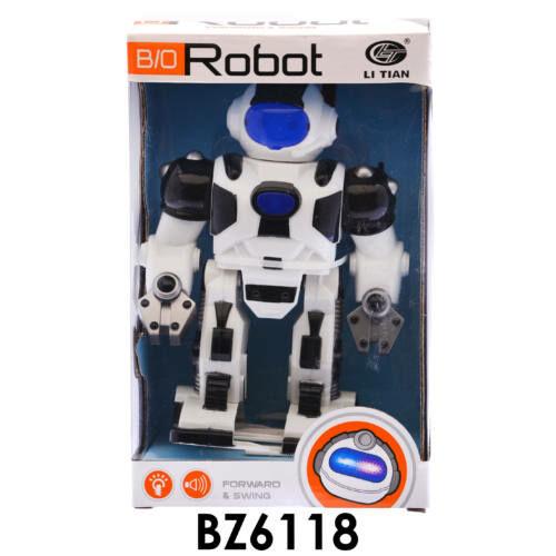 Robot, elemes(3xAA), zenél és világít, piros vagy fehér színű, 16x26 cm dobozban