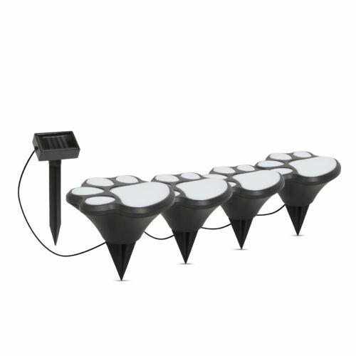 LED-es szolár lámpa - kutya lábnyom, leszúrható - műanyag - fekete - 360 cm
