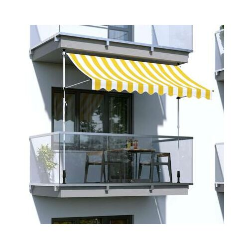 Feltekerhető napellenző, sárga csíkos, 200x120 cm