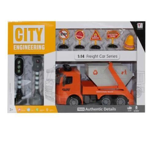 Kukásautó készlet, konténerszállító, elemes( 3 gombelem benne), világít és hangot ad, világító közlekedési lámpával, világító traffipaxszal, 49x30 cm dobozban