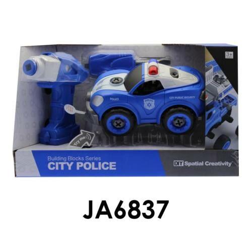 Szerelős rendőrautó, fúrógéppel, elemes(3 gombelem benne, +2xAA, +2xAA), 33x20 cm nyitott dobozban