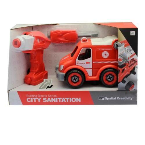 Szerelős tűzoltóautó, fúrógéppel, elemes(3 gombelem benne, +2xAA, +2xAA), 33x20 cm dobozban