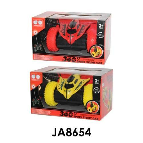 R/C távirányítós autó, bukfences, elemes(2xAA), full funkciós(minden irányba megy), hangot ad és világít, elöl 2 nagy kerék/hátul 2 kicsi, USB töltős, 2 szín: piros, citromsárga, 28x17 cm dobozban