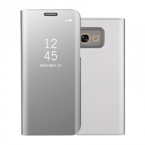 Samsung Galaxy J4 (2018) SM-J400F, Oldalra nyíló tok, hívás mutatóval, Smart View Cover, ezüst (utángyártott)