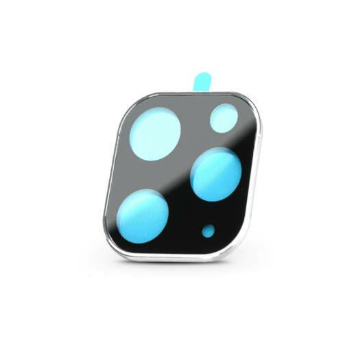 Hátsó kameravédő borító + lencsevédő edzett üveg - Apple iPhone 11 Pro Max - fekete/ezüst