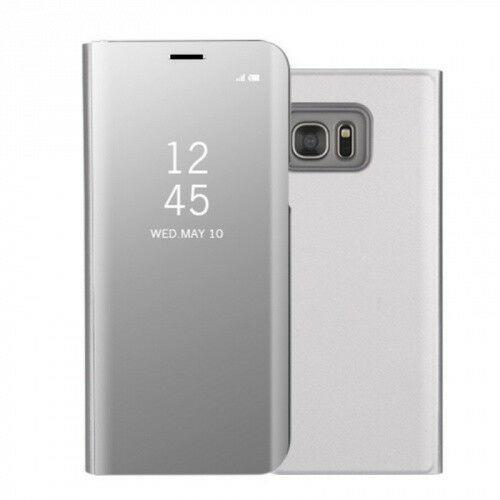 Samsung Galaxy S7 Edge SM-G935, Oldalra nyíló tok, hívás mutatóval, Smart View Cover, ezüst (utángyártott)
