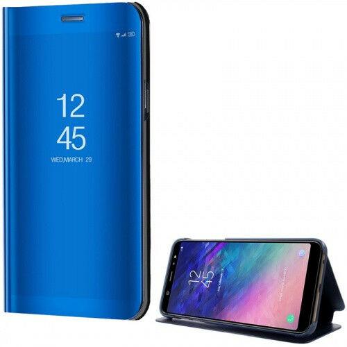 Samsung Galaxy A6 Plus (2018) SM-A605F, Oldalra nyíló tok, hívás mutatóval, Smart View Cover, kék (utángyártott)