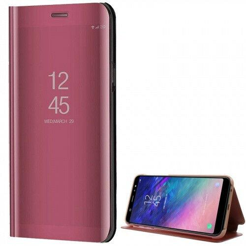 Samsung Galaxy A6 Plus (2018) SM-A605F, Oldalra nyíló tok, hívás mutatóval, Smart View Cover, vörösarany (utángyártott)