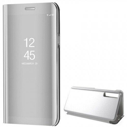 Samsung Galaxy A7 (2018) SM-A750F, Oldalra nyíló tok, hívás mutatóval, Smart View Cover, ezüst (utángyártott)