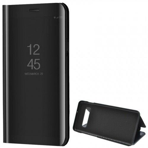 Samsung Galaxy S10 Plus SM-G975, Oldalra nyíló tok, hívás mutatóval, Smart View Cover, fekete (utángyártott)