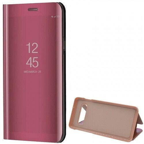 Samsung Galaxy S10 SM-G973, Oldalra nyíló tok, hívás mutatóval, Smart View Cover, vörösarany (utángyártott)