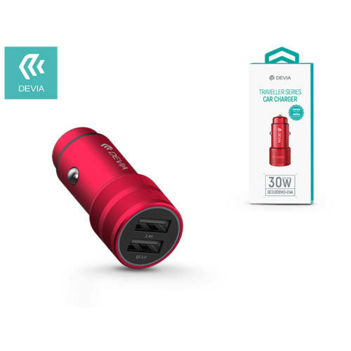 Devia Dual USB szivargyújtós töltő adapter - 5V/2,4A - Devia Traveller Series Car Charger - Qualcomm Quick Charge 3.0 - red