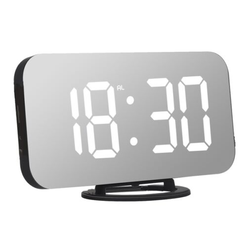 Tükör kijelzős ébresztő óra hőmérséklet jelző funkcióval fehér
