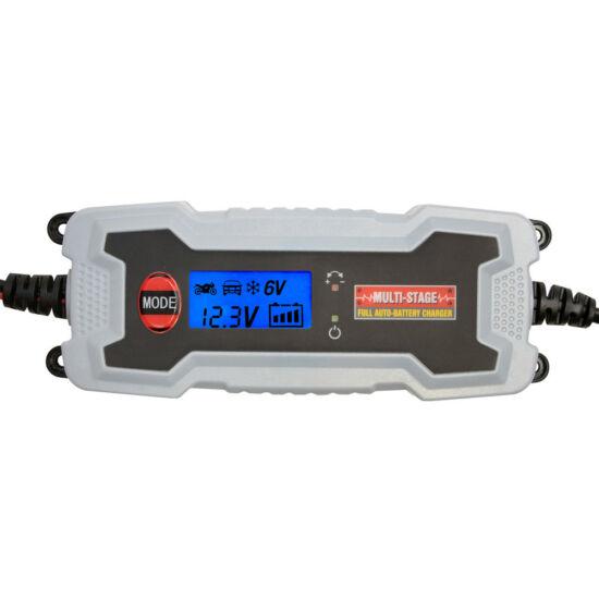 Akkutöltő, 6-12V/3.8A, SMART, LCD