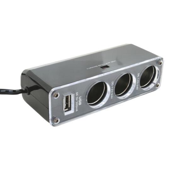 Autós fesz. elosztó, 3-as+USB
