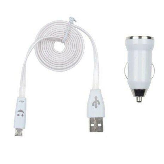Világító Micro USB kábel, szivargyújtós töltővel